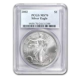 2002 Silver American Eagle MS-70 PCGS (Registry Set)