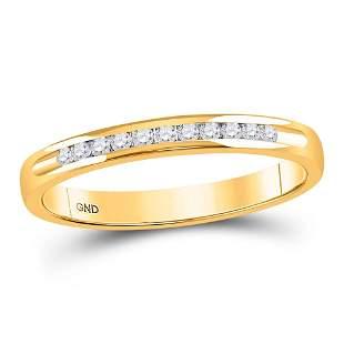 14kt Yellow Gold Womens Machine Set Round Diamond