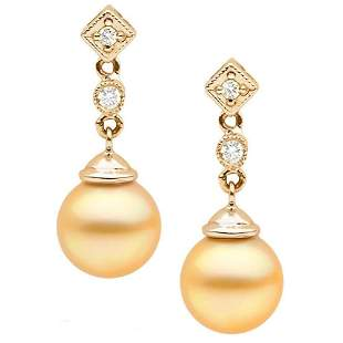 Golden South Sea Pearl and Diamond Royale Dangle