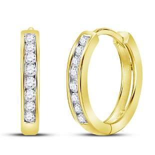14kt Yellow Gold Womens Round Diamond Channel Set Hoop
