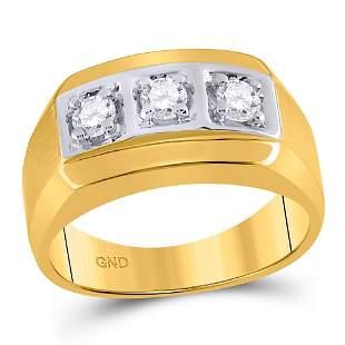 14kt Yellow Gold Mens Round Diamond 3-stone Fashion