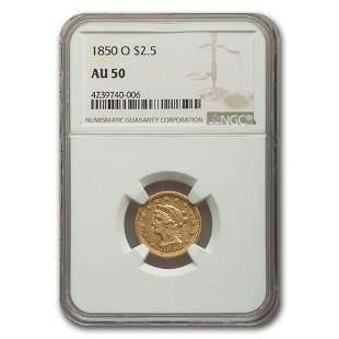 1850-O $2.50 Liberty Gold Quarter Eagle AU-50 NGC