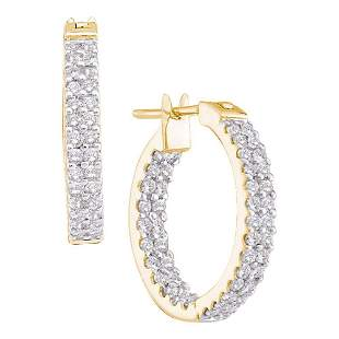 14kt Yellow Gold Womens Round Diamond Inside Outside