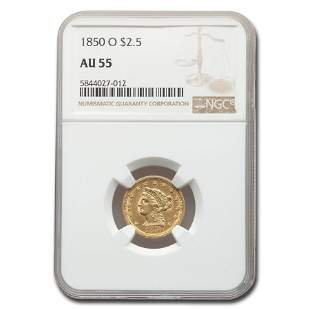 1850-O $2.50 Liberty Gold Quarter Eagle AU-55 NGC