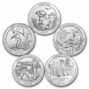 2016 5-Coin 5 oz Silver ATB Set (America the Beautiful)