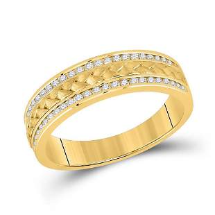 14kt Yellow Gold Mens Round Diamond Wedding Braided