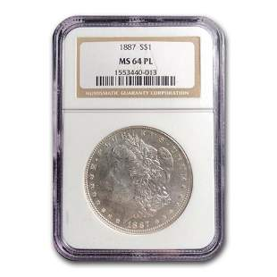 1887 Morgan Dollar MS-64 PL NGC