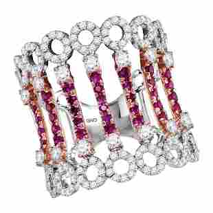 14kt Two-tone White Rose Gold Womens Round Ruby Diamond