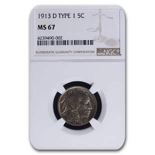 1913-D Buffalo Nickel Type-I MS-67 NGC