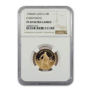 1980 Russia Gold 10 Roubles Chervonetz PF-69 NGC