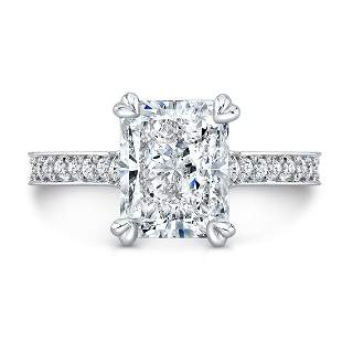 Natural 2.62 CTW Art-Deco Radiant Cut Diamond Ring 14KT