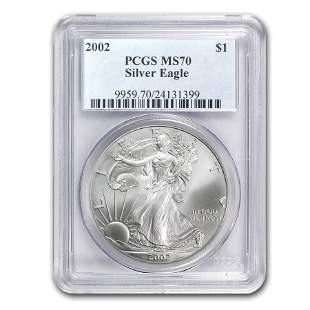 2002 Silver American Eagle MS-70 PCGS (Registry Set)