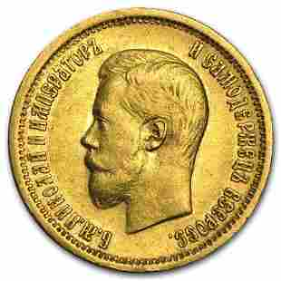 1898-1911 Russia Gold 10 Roubles Nicholas II Avg Circ