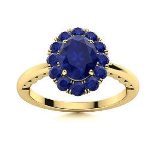 Natural 1.37 CTW Sapphire Solitaire Ring 14K Yellow