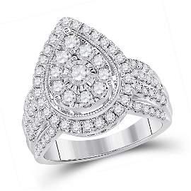 14kt White Gold Womens Round Diamond Teardrop Cluster