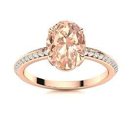 Natural 1.80 CTW Morganite & Diamond Engagement Ring