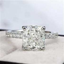 Natural 3.12 CTW Cushion Cut Solitaire Diamond