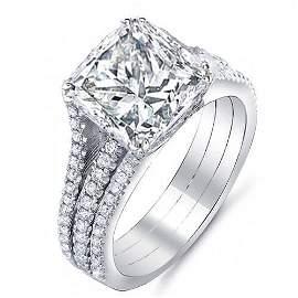 Natural 2.27 CTW Princess Cut 3-Rows Diamond Engagement