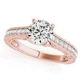 Natural 1.07 ctw Diamond Solitaire Ring 14k Rose Gold