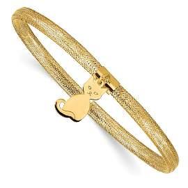 14k Yellow Gold Cat Stretch Mesh Bracelet