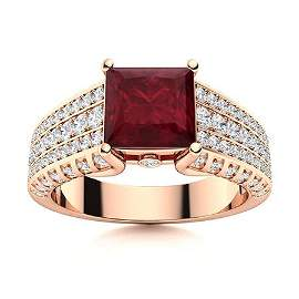 Natural 2.06 CTW Ruby & Diamond Engagement Ring 18K