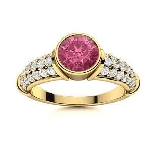 Natural 1.96 CTW Tourmaline & Diamond Engagement Ring