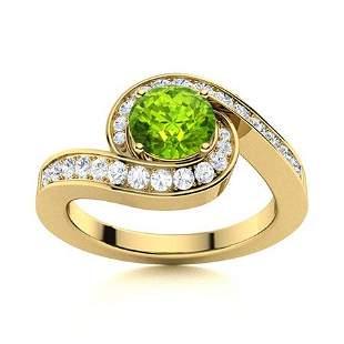 Natural 1.10 CTW Peridot & Diamond Engagement Ring 18K