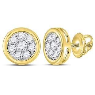 14kt Yellow Gold Womens Round Diamond Circle Cluster