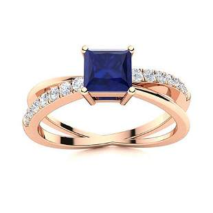 Natural 0.91 CTW Sapphire & Diamond Engagement Ring 14K