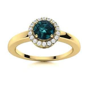 Natural 0.57 CTW Blue & White Diamond Engagement Ring