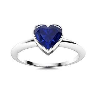 Natural 0.63 CTW Sapphire Solitaire Ring 14K White Gold
