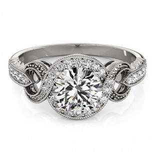 Natural 0.8 ctw Diamond Solitaire Halo Ring 14k White