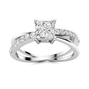Natural 0.97 CTW Diamond Solitaire Ring 18K White Gold