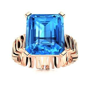 Natural 10.31 CTW Topaz Solitaire Ring 18K Rose Gold