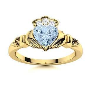 Natural 0.74 CTW Aquamarine & Diamond Engagement Ring