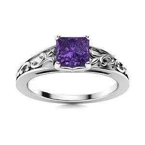 Natural 0.72 CTW Amethyst Solitaire Ring 18K White Gold