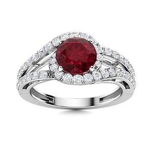Natural 1.58 CTW Ruby & Diamond Engagement Ring 18K