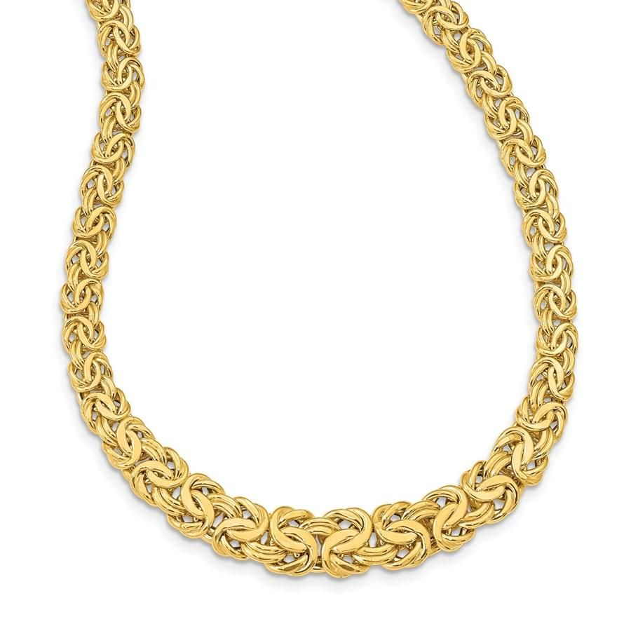 14k Yellow Gold Graduated 7-12 mm Byzantine Necklace -