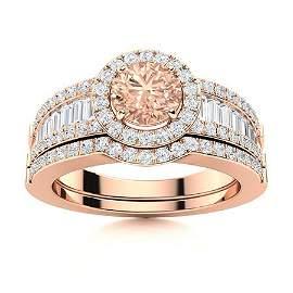 Natural 1.39 CTW Morganite & Diamond Engagement Ring