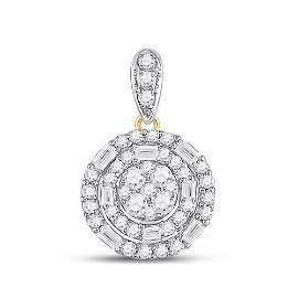 Baguette Diamond Circle Cluster Pendant 3/8 Cttw 14kt