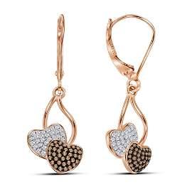 Red Color Enhanced Diamond Heart Dangle Earrings 1/3