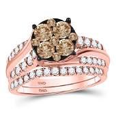 Brown Diamond Bridal Wedding Ring Band Set 1-1/2 Cttw