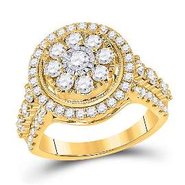 Diamond Cluster Ring 1-3/4 Cttw 14kt Yellow Gold
