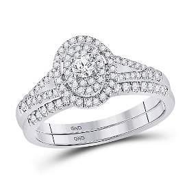 Diamond Oval Bridal Wedding Ring Band Set 1/2 Cttw 10kt