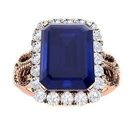 Natural 4.14 CTW Sapphire & Diamond Engagement Ring 18K
