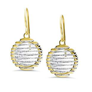 14k Gold Two-Tone Wire Wrapped Dangle Earrings