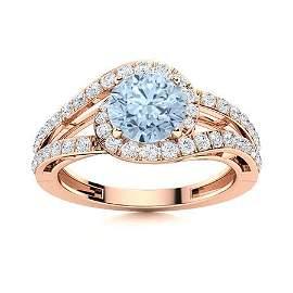 Natural 1.26 CTW Aquamarine & Diamond  Engagement Ring