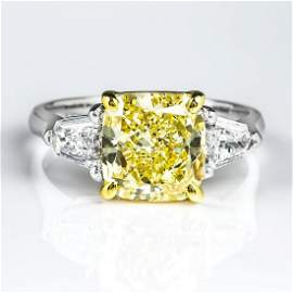 Natural 3.12 CTW Canary Light Yellow Cushion Cut &
