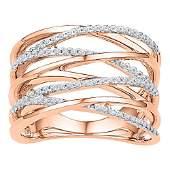 Diamond Crossover Strand Fashion Band Ring 1/4 Cttw