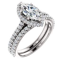 Natural 3.12 CTW Halo Marquise Cut Diamond Ring 14KT